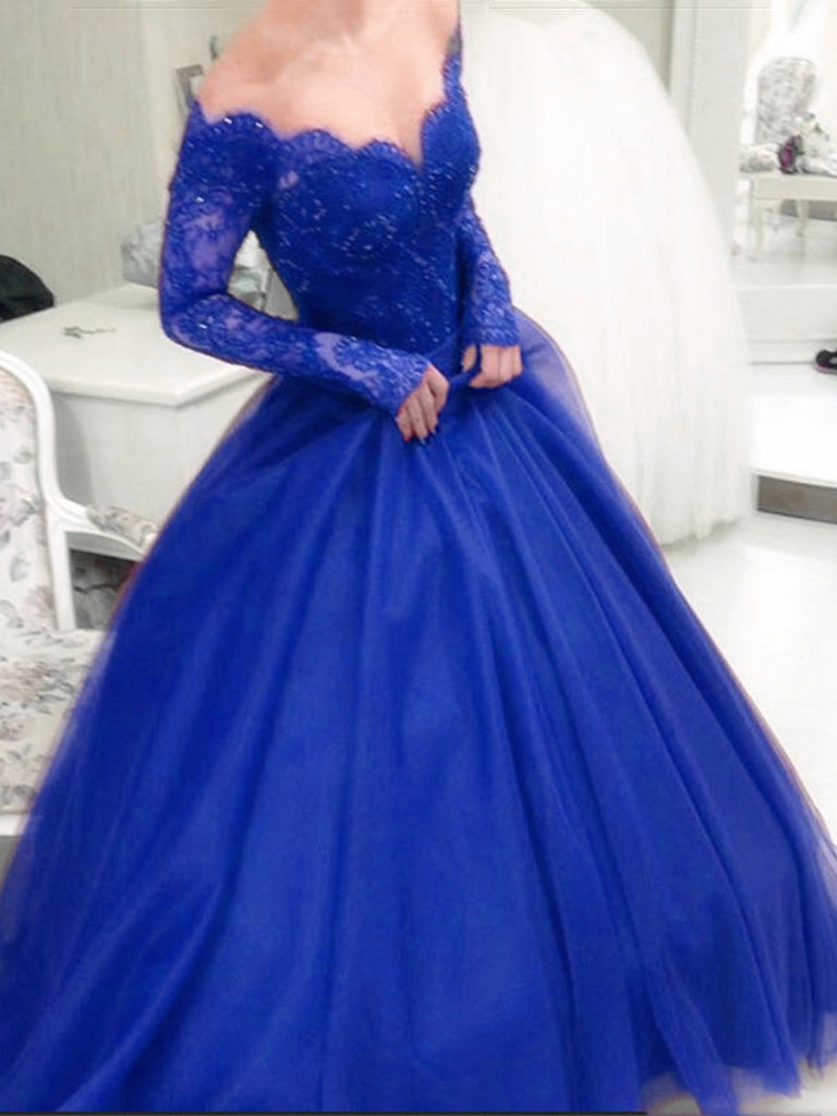 Long Sleeves Lace Royal Blue Burgundy Long Ball Gown