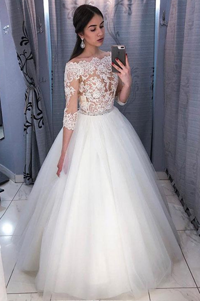 Long Sleeves Lace White Long Prom Wedding Dresses, Long Sleeves White Lace Formal Dresses, White Lace Evening Dresses