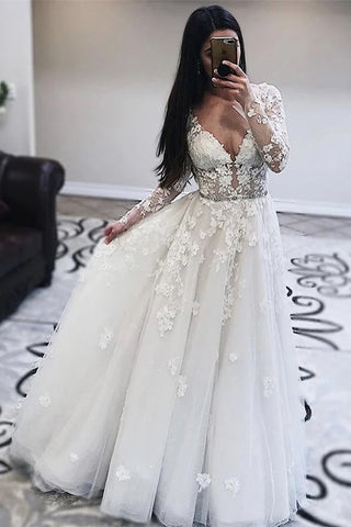 Long Sleeves V Neck White Lace Prom Wedding Dress, Long Sleeves White Lace Formal Dress, White Lace Evening Dress