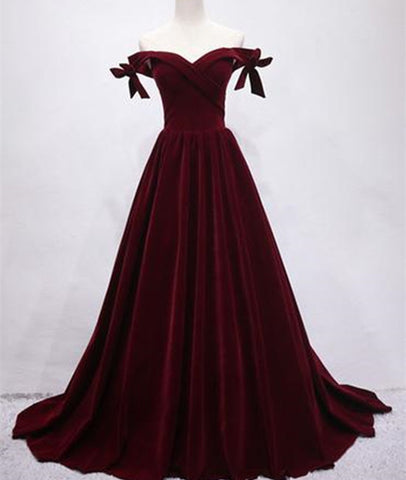 Maroon Off Shoulder Velvet Long Prom Dress, Off Shoulder Maroon Graduation Dress, Evening Dress