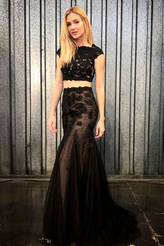 Mermaid 2 Pieces Black Lace Long Prom Dress, Mermaid Black Formal Dress, Two Piece Black Evening Dress