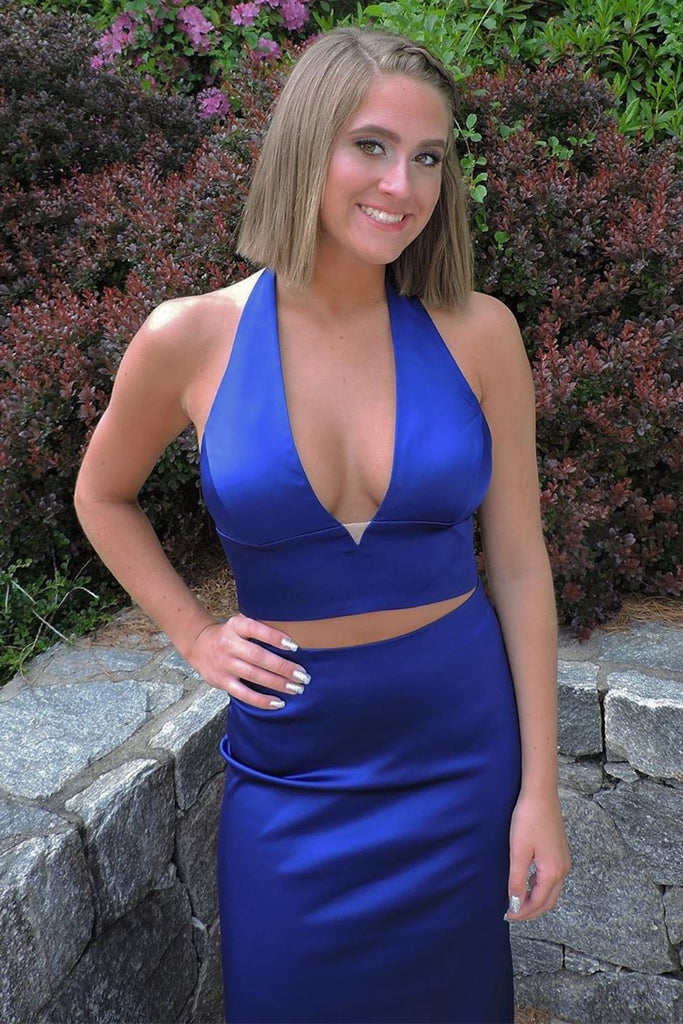Mermaid Halter V Neck 2 Pieces Backless Royal Blue Long Prom Dress, 2 Pieces Royal Blue Formal Dress, Mermaid Royal Blue Evening Dress