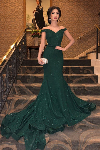 Mermaid Off the Shoulder Green Long Prom Dress, Off Shoulder Green Formal Dress, Green Evening Dress