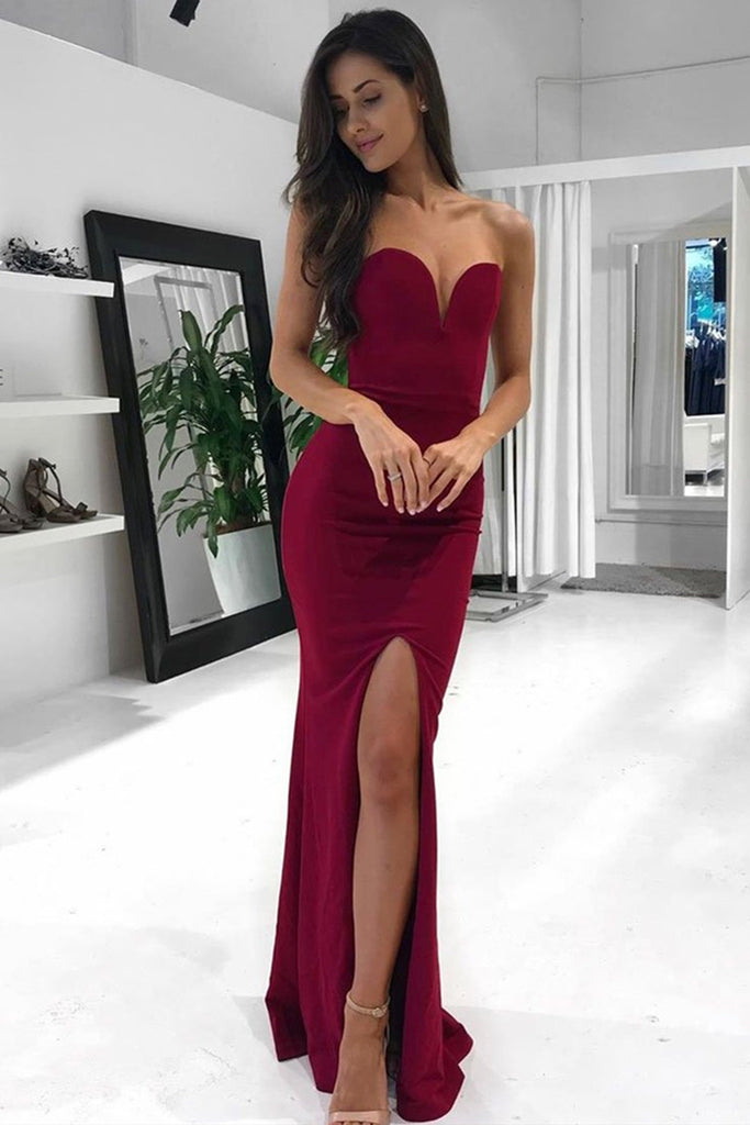 Mermaid Strapless Burgundy Long Prom Dress with Slit, Mermaid Burgundy Formal Dress, Burgundy Evening Dress