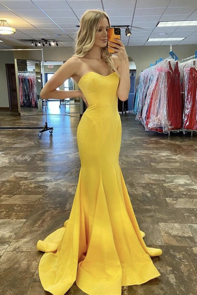 Mermaid Sweetheart Neck Yellow Satin Long Prom Dress, Mermaid Yellow Formal Dress, Yellow Evening Dress