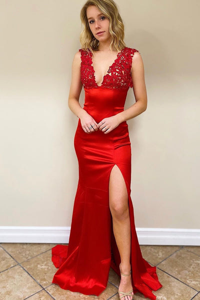 Mermaid V Neck Backless Red Long Prom Dress, Mermaid Red Formal Dress, Red Lace Evening Dress