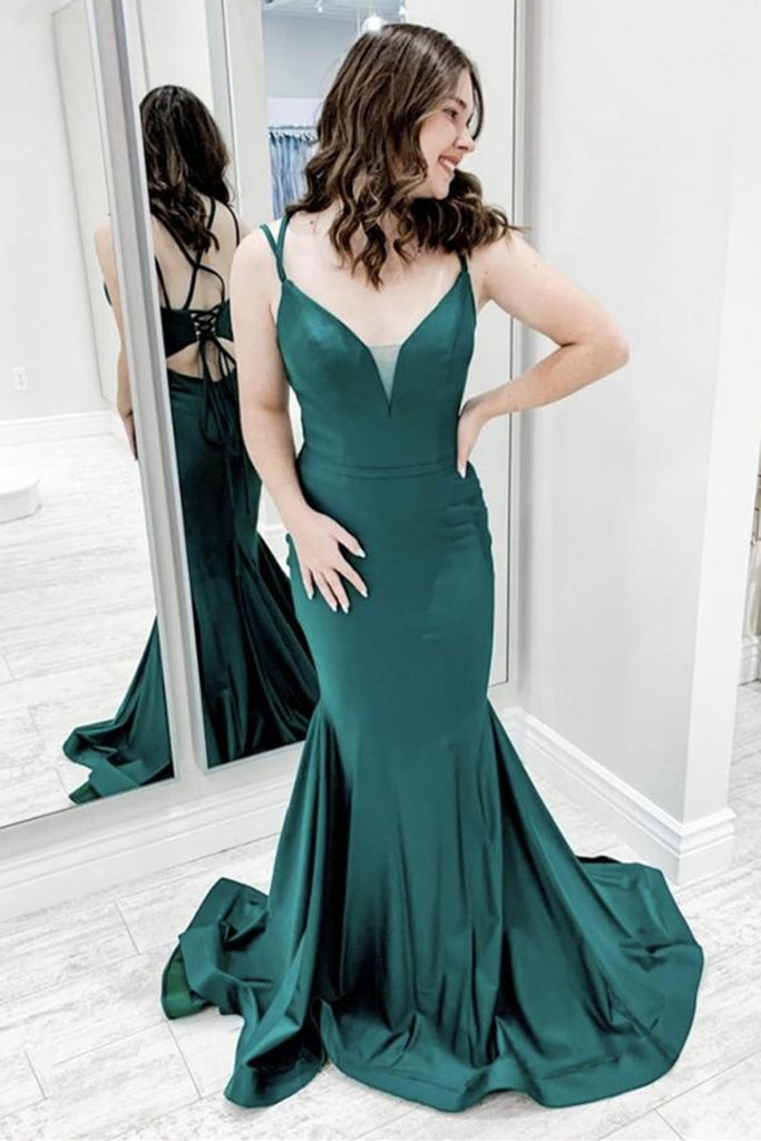 Mermaid V Neck Green Satin Long Prom Dress, Mermaid Green Formal Graduation Evening Dress