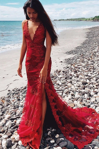 Mermaid V Neck Red Beaded Lace Floral Prom Dress, Mermaid Red Lace Formal Dress, Red Lace Evening Dress
