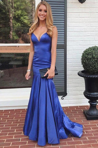 Mermaid V Neck Royal Blue Satin Long Prom Dress, Mermaid Royal Blue Formal Dress, Royal Blue Evening Dress