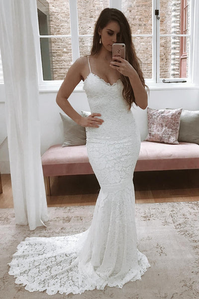 Mermaid Backless White Lace Long Prom Dress Wedding Dress with Train, Mermaid White Lace Formal Dress, Backless Lace Evening Dress