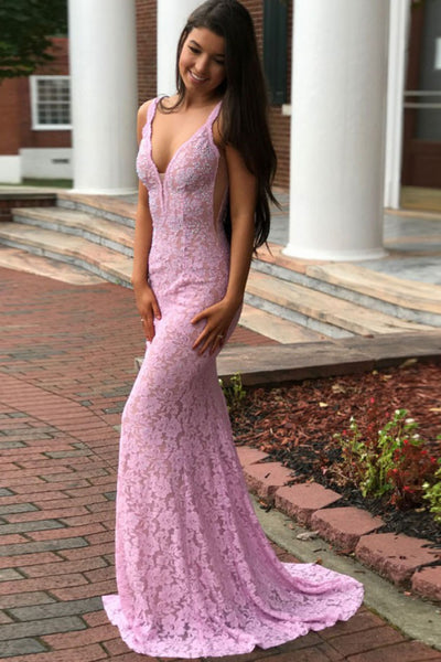 Mermaid Deep V Neck Backless Beading Lace Pink Prom Dresses with Sweep Train, Mermaid Pink Formal Dresses, Pink Lace Evening Dresses