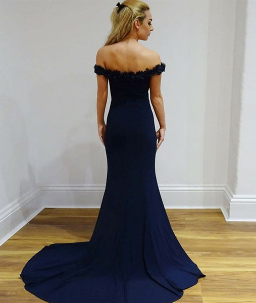 Mermaid Off Shoulder Appliques Navy Blue Long Prom Dresses, Mermaid Navy Blue Formal Evening Dresses Off Shoulder Graduation Dresses