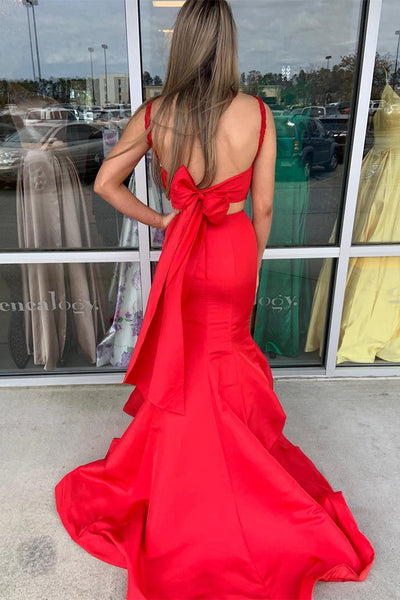 Mermaid Two Pieces Lace Red Long Prom Dresses, Two Piece Red Formal Dresses, Mermaid Red Evening Dresses