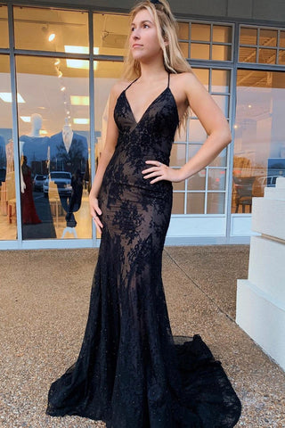 Mermaid V Neck Backless Lace Black Long Prom Dress, Mermaid Backless Black Lace Formal Dress, Mermaid Black Lace Evening Dress