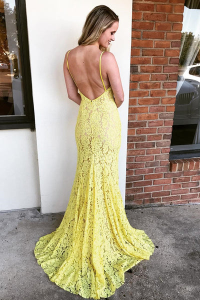 Mermaid V Neck Backless Lace Yellow Prom Dresses with Side Split, Yellow Lace Formal Dresses, Lace Evening Dresses 2019