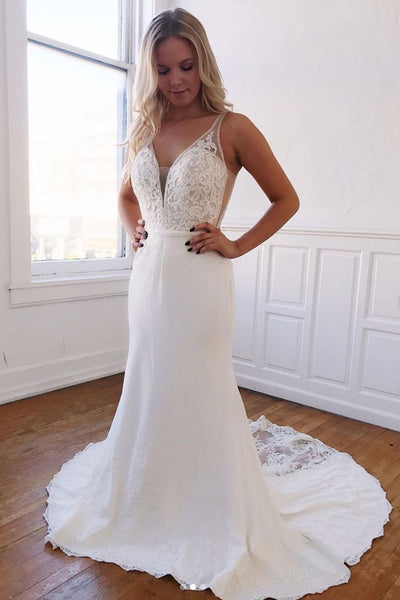 Mermaid V Neck Long Lace White Prom Dress, V Neck Mermaid Lace White Formal Graduation Evening Dress