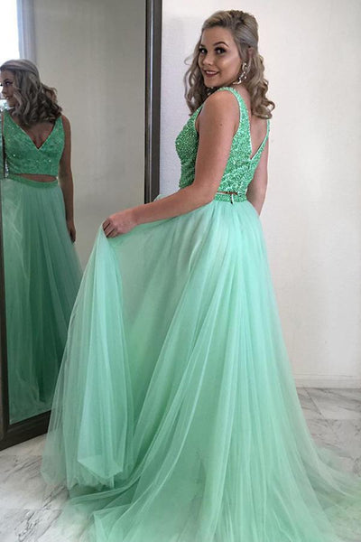 Mint Green A Line V Neck Two Piecee Beading Tulle Long Prom Dresses, Two Piece Green Formal Graduation Evening Dresses
