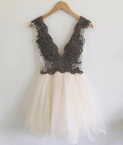 Modern V-neck Beading A-line Short Beige Prom Dresses, Homecoming Dresses