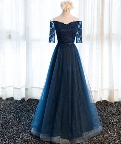 Navy Blue Half Sleeves Lace Long Prom Dresses, Navy Blue Lace Formal Dresses