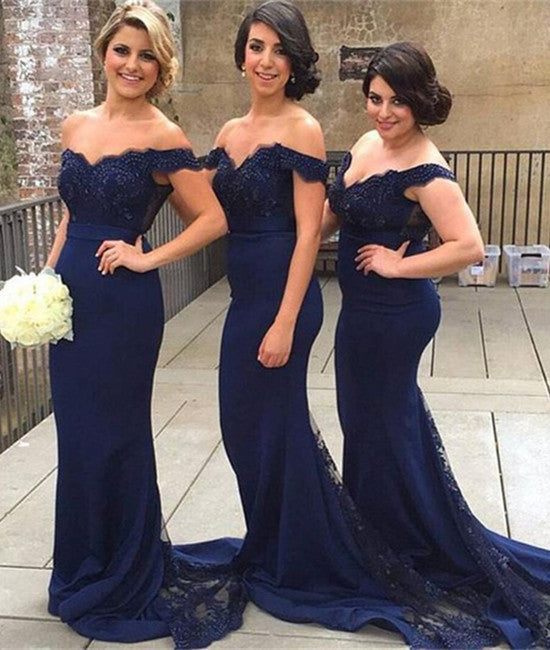 Navy Blue Off Shoulder Beaded Lace Prom Dresses, Blue Bridesmaid Dresses, Lace Prom Gown