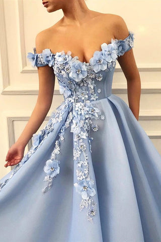 Off Shoulder Baby Blue Lace Long Floral Prom Dress, Blue Lace Floral Formal Evening Dress