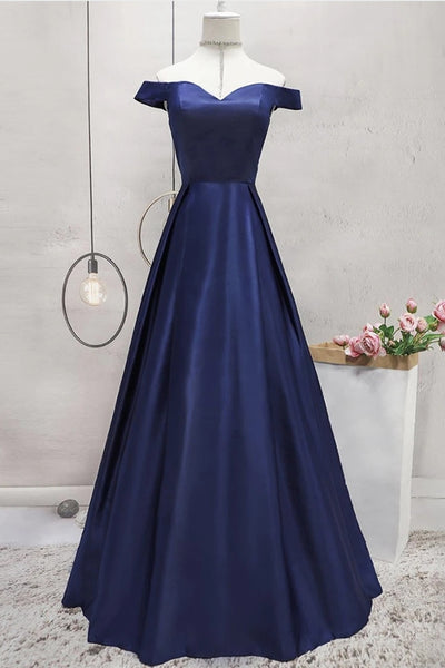Off Shoulder Blue Satin Long Prom Dress, Off Shoulder Blue Formal Dress, Blue Evening Dress