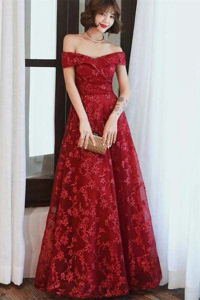 Off Shoulder Burgundy Lace Appliques Long Prom Dress, Off Shoulder Burgundy Formal Dress, Burgundy Lace Evening Dress