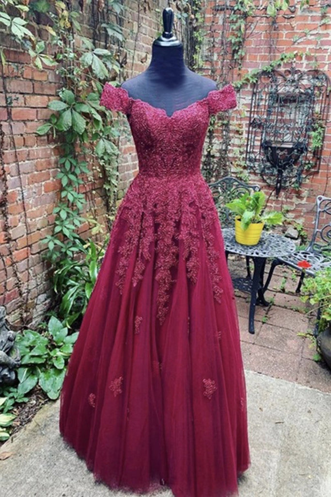 Off Shoulder Burgundy Lace Prom Dress, Off the Shoulder Burgundy Formal Dress, Burgundy Lace Evening Dress