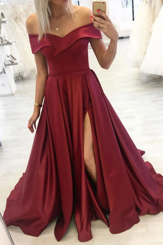 Off Shoulder Burgundy Satin Long Prom Dress with Slit, Off Shoulder Burgundy Formal Dress, Burgundy Evening Dress
