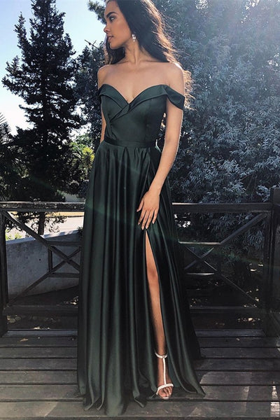 Off Shoulder Dark Green Satin Long Prom Dress with High Slit, Off Shoulder Dark Green Formal Graduation Evening Dress