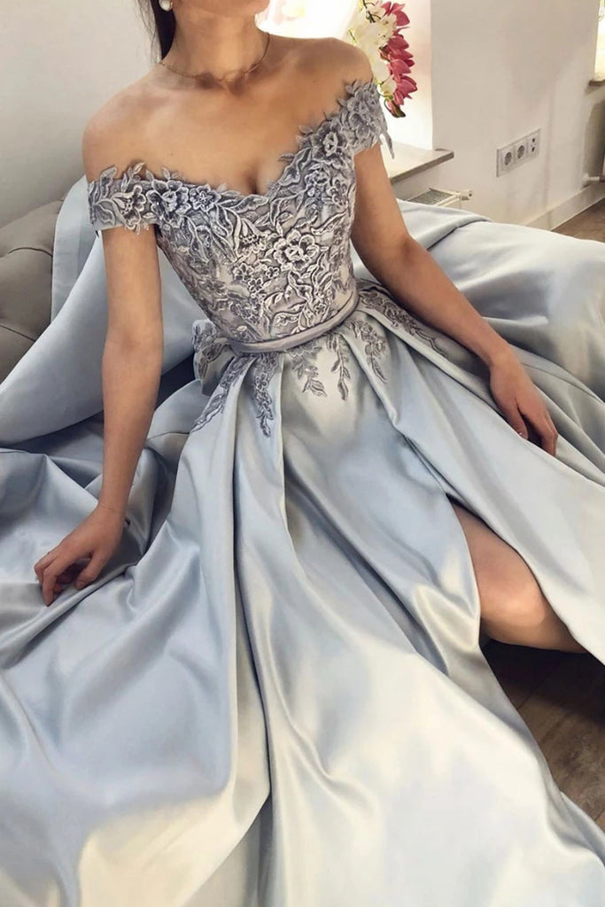 Off Shoulder Gray Lace Appliques Long Prom Dress with High Slit, Off the Shoulder Gray Lace Formal Graduation Evening Dress