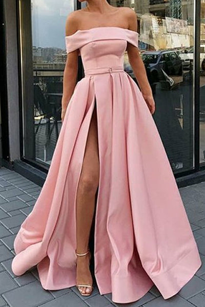 Off Shoulder Light Blue Pink Satin Long Prom Dress with High Split, Light Blue Pink Formal Graduation Evening Dress