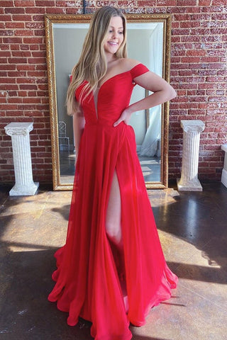 Off Shoulder Open Back Red Long Prom Dress with High Slit, V Neck Red Formal Evening Dress