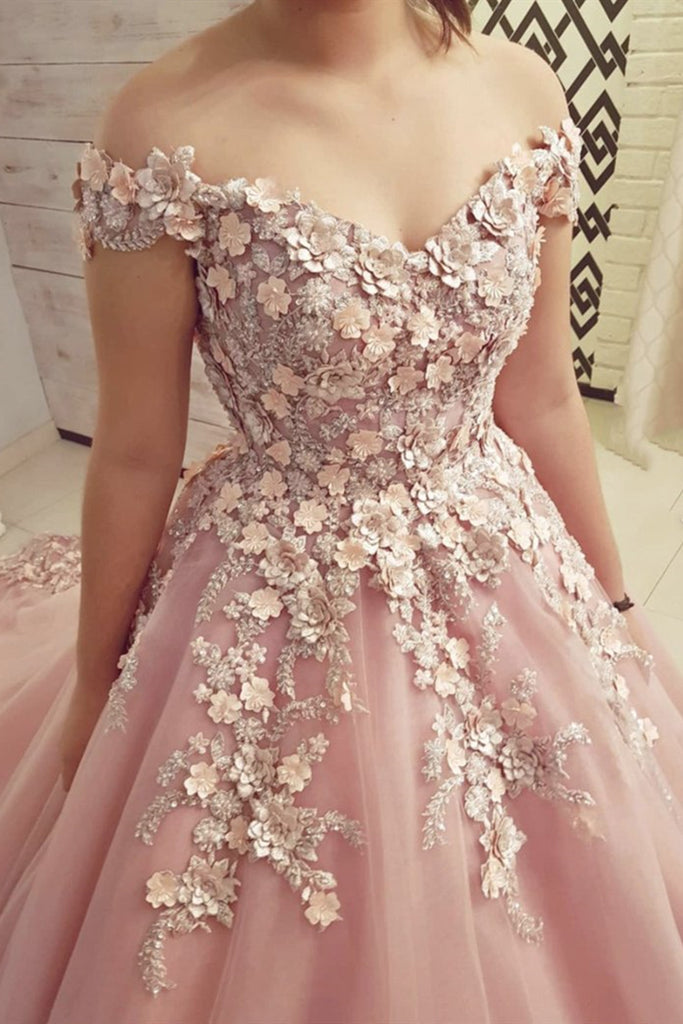 Off Shoulder Pink Lace Floral Long Prom Dresses, 3D Flower Pink Long Formal Evening Dresses
