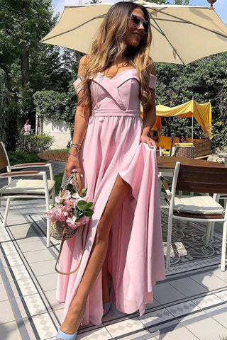 Off Shoulder Pink Long Prom Dress with High Slit, Off Shoulder Pink Formal Graduation Evening Dress