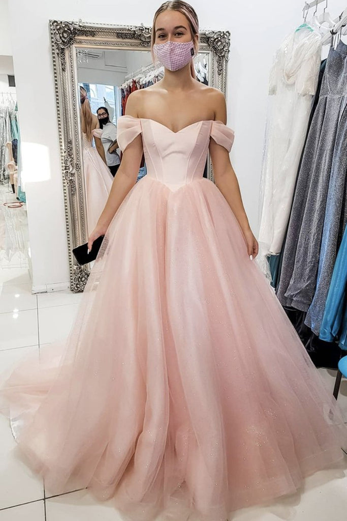 Off Shoulder Pink Tulle Long Prom Dress, Long Off the Shoulder Pink Formal Dress, Pink Evening Dress