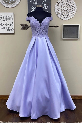 Off Shoulder Purple Lace Long Prom Dress, Off Shoulder Purple Formal Dress, Purple Lace Evening Dress