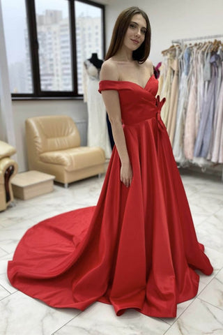 Off Shoulder Red Satin Long Prom Dress, Off the Shoulder Red Formal Graduation Evening Dress