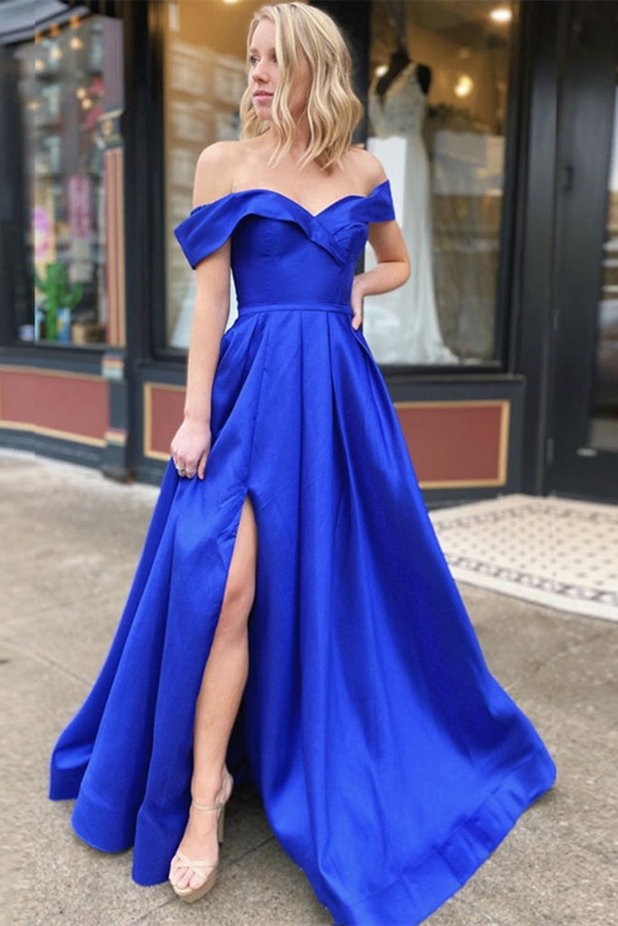 Off Shoulder Royal Blue Satin Long Prom Dress with Leg Slit, Off Shoulder Royal Blue Formal Graduation Evening Dress