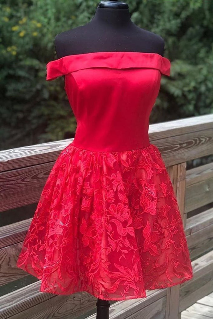 Off Shoulder Short Red Lace Prom Dress, Off Shoulder Red Lace Formal Graduation Dress, Red Lace Homecoming Dress