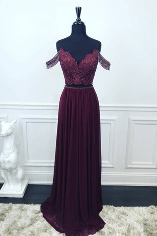 Off Shoulder Two Pieces Purple Lace Long Prom Dress, 2 Pieces Purple Formal Dress, Purple Lace Evening Dress