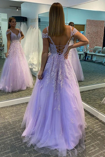 Off Shoulder V Neck Purple Lace Long Prom Dress, Off Shoulder Purple Formal Dress, Purple Lace Evening Dress