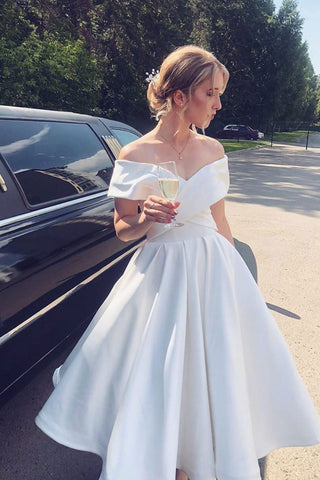 Off Shoulder White Satin Tea Length Prom Dress, Short White Formal Graduation Homecoming Dress