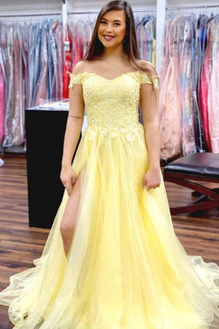 Off Shoulder Yellow Lace Long Prom Dress with High Slit, Off the Shoulder Yellow Formal Dress, Yellow Lace Evening Dress