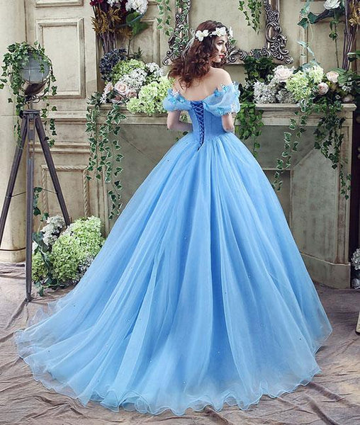 Off Shoulder Blue Tulle Long Prom Dress with Butterfly, Off Shoulder Blue Ball Gown, Blue Evening Dress