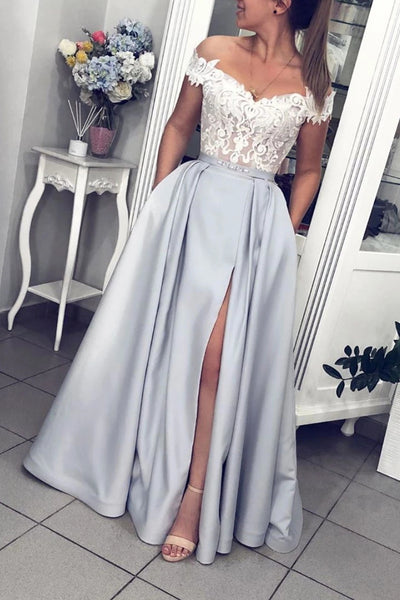 Off Shoulder Lace Gray Long Prom Dress with Slit, Off the Shoulder Lace Gray Formal Graduation Evening Dress