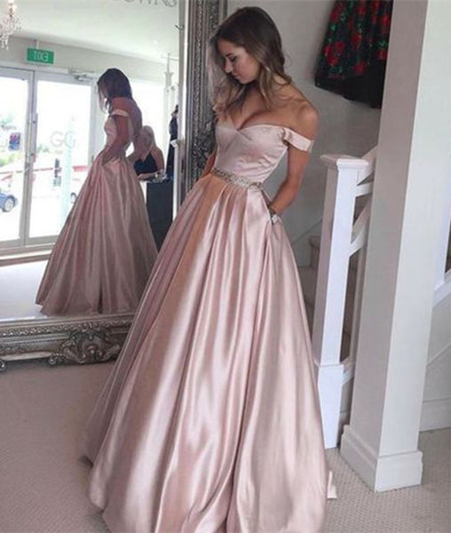 Off Shoulder Light Pink Prom Dresses, Light Pink Formal Dresses, Pink Evening Dresses