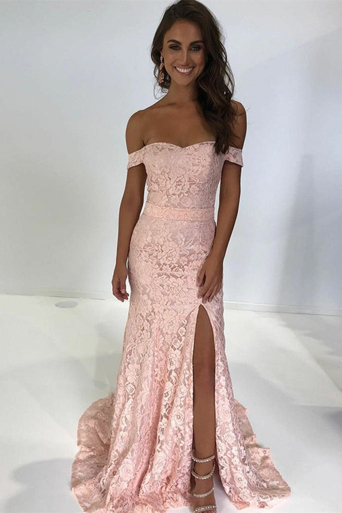 Off Shoulder Mermaid Pink Lace Long Prom Dress with Slit, Off the Shoulder Pink Lace Formal Dress, Mermaid Lace Pink Evening Dress