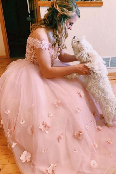 Off Shoulder Two Pieces Floral Pink Lace Wedding Dress, 2 Pieces Lace Pink Prom Dress, Pink Formal Dress