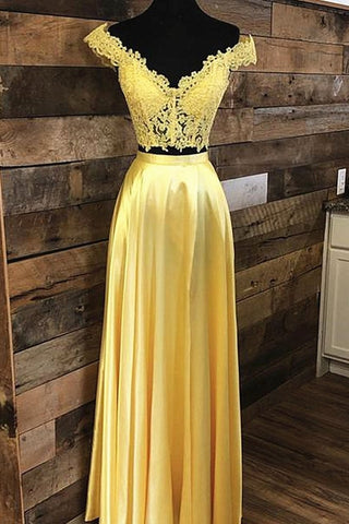 Off Shoulder Two Pieces Lace Yellow Long Prom Dress, Off the Shoulder Yellow Lace Formal Dress, Two Pieces Yellow Lace Evening Dress